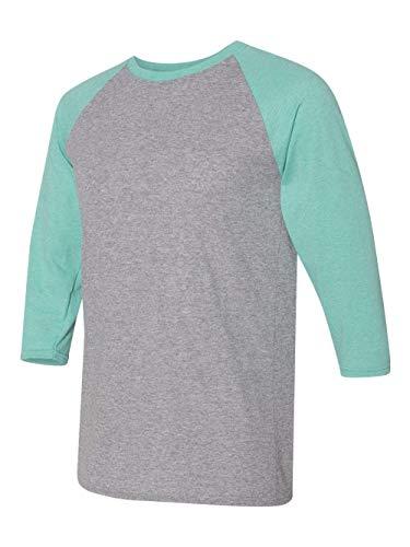 Jerzees Mens Dri-Power Active Triblend Baseball Raglan T-Shirt (601RR) Oxford/Mint Heather XL