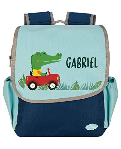 Mein Zwergenland | Kindergartenrucksack | Happy Knirps Next | Personalisierter Rucksack mit Namen | Kindergartenrucksack für Jungen und Mädchen | Rucksack Kinder 6 Liter | Blau | Krokodil im Auto