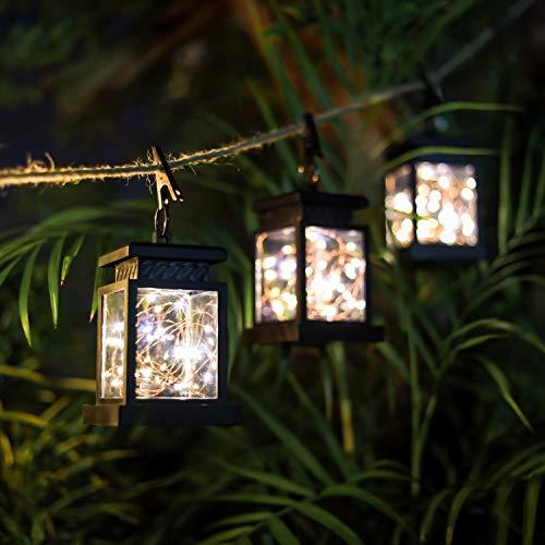 CozyHome 3x Solar LED Laterne Aussen | 3 wetterfeste Laternen Auto Ein-Aus | 20 LEDs warm-weiß – Retro Design Solar Gartenlicht mit Lichterkette | NICHT batterie-betrieben – Akku integriert