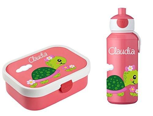 Mein Zwergenland Brotdose Mepal Campus inkl. Bento Box und Gabel + Campus Pop-up Trinkflasche mit Namen Rose, Schildkröte mit Schleife
