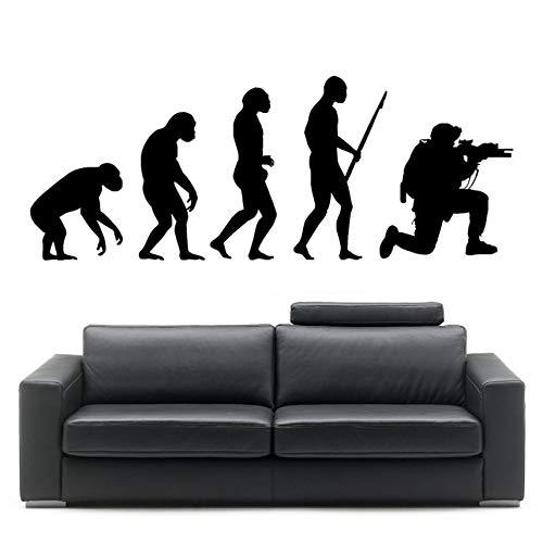 Pegatinas Pegatina de pared Evolución del hombre soldado Darwin Wall Art Sticker Room Decal 58 x 23 cm