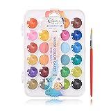 XUNXI Juego de Pintura de Acuarela, Juego de Pintura de Acuarela Fundamental de 24 Colores con Pincel de Pintura Juego de Acuarela para Principiantes y Profesionales 24 Colores