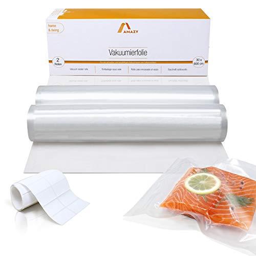 Amazy Vakuumierfolie (2 Rollen | 30 x 600 cm) inkl. Etiketten – 2 individuell zuschneidbare Folienrollen für schnelles Vakuumieren von Lebensmitteln, für alle gängigen (Balken-) Vakuumierer geeignet