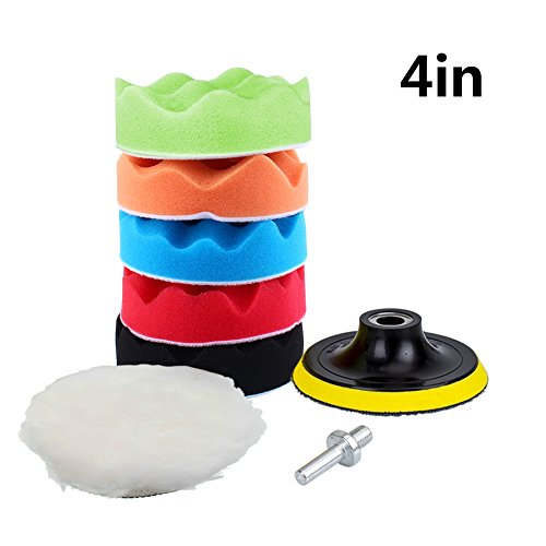 Yosoo 7Pcs 5/6/7' Sponge Polishing Waxing Buffing Pads Kit Set Compound Auto Car Polisher + M14 Drill Adapter Kit (4')