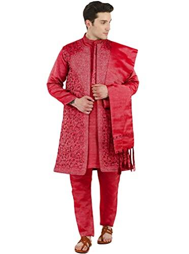 SKAVIJ Men's Embroidered 4 Piece Kurta Pajama Sherwani Set