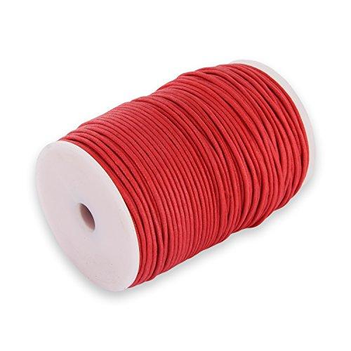 Auroris 100m Rolle Baumwollband rund 1mm Farbe: rot