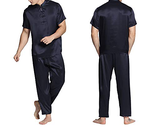 Silk Pajamas Silk Men 100 Pure Luxury Short Sleeve Pants Elastic Waist Eastern Navy Blue