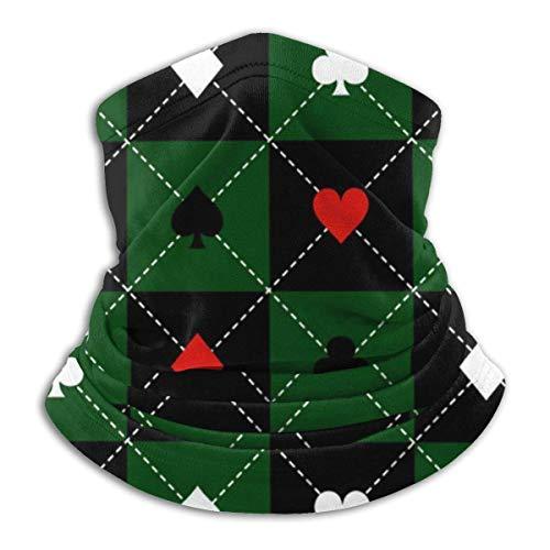 Lzz-Shop Kaartpakken Groen Zwart Schaakbord Diamanthalswarmer - hoofdbanden sjaal hoofdwikkel, halsmanchet slangvissen, gezichtssportsjaal