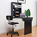 TANGKULA Wall Mounted Table, Fold Out Multi-Function Computer Desk, Convertible Desk Writing Desk Home Office Wood Convertible Desk, Large Storage Area (Black)