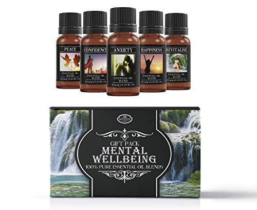 Mystix London Mental Wellbeing | Essential Oil Blend Gift Starter Pack | Anxiety, Confidence, Happiness, Peace, Revitalise | 100% Pure Essential Oil Blends