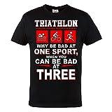 Rule Out Ropa Deportiva. Triathlon. Swim. Moto. Ejecutar. Hierro Hombre Hombre Informal Camiseta - Negro, Chica
