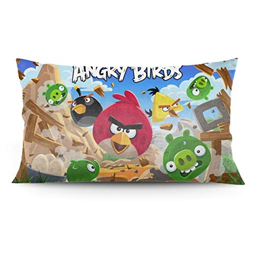 "Soft Throw Pillow Covers, Angry B-ird Pillowcase Suitable for Student Dormitory Children's Room Bedroom Living Room Office Bed Decoration 20""x36"""