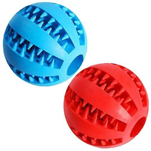 "Dog Treat Toy Ball, Dog Tooth Cleaning Toy, Interactive Dog Toys(1 Red+1 Blue) 2.8"" Pack of 2"