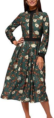 Simple Flavor Women s Floral Vintage Midi Dress Elegant Work Dress Long Sleeve Green M product image