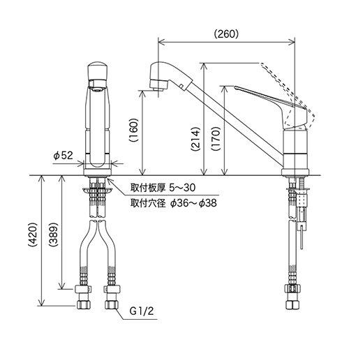 KVKeレバー流し台用シングルレバー式シャワー付混合栓KM5011TFEC