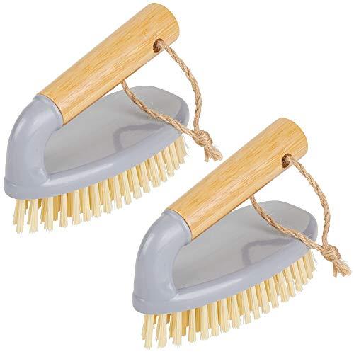 mDesign 2er-Set Handbürste aus Bambus – praktische Bürste zur Reinigung von Badezimmer, Garage oder Hauswirtschaftsraum – Holzbürste mit Griff – grau/naturfarben