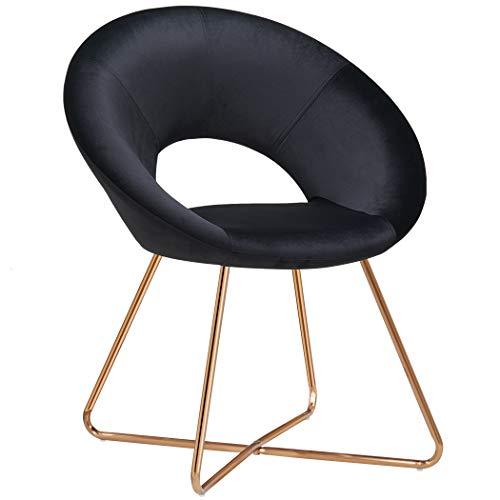 Duhome Silla de Comedor diseño Retro con Brazos Silla tapizada Vintage sillón con Patas de Metallo 439D, Color:Negro, Material:Terciopelo