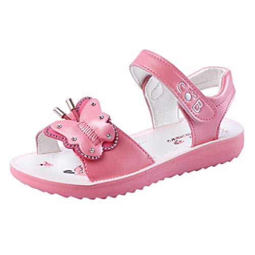 YWLINK Verano NiñOs Chicas Bohemio Casual Mariposa Sandalias Princesa Zapatos Planos Fiesta Al Aire Libre Zapatos De Playabaile Regalo Antideslizante Fondo Blando(Melon Rojo,32EU)