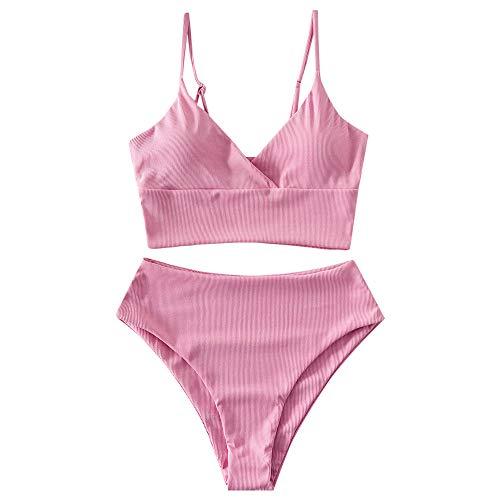 ZAFUL Women Tankini Set, Ribbed High Cut Surplice Swimsuit Bathing Suit with Spaghetti Straps (Flamingo Pink-Surplice,XL)