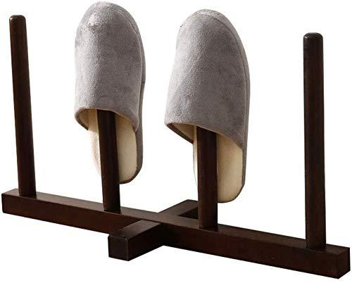 ZfgG Zapato Gabinete apilable sólido bastidor de madera del zapato for los estantes pie de cerco de dormitorio for Baño Zapatos de entrada - Contiene 2 pares de zapatillas de interior y exterior