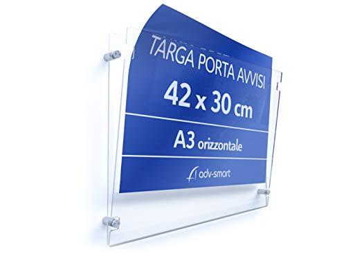 adv-smart Targa in Plexiglass Trasparente Porta Avvisi formato A3 orizzontale 42x30 cm, Messaggio, Info, Cartella da parete in Plexiglas con distanziali in acciaio