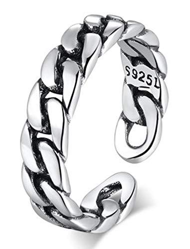 RXISHOP Anillo abierto de plata S925 para hombres y mujeres, tejido retro moda punk anillo novia madre afortunada anillo de regalo 10-18# pequeño