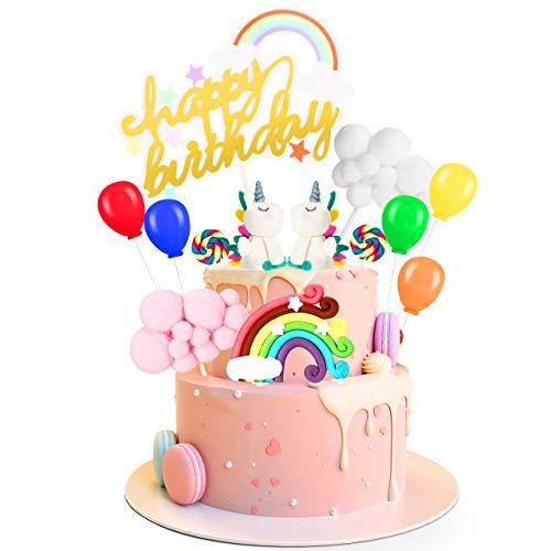 Unicornio Decoración de Tartas, Gifort Decoración Para Tartas de Unicornio Decoraciones de Pasteles de Cumpleaños para Infantiles con Arcoiris y Globos, Fiestas, Aniversarios