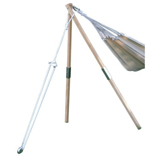 BYER OF MAINE Madera Hammock Stand, Hardwood Support Posts, Easy Assembly, Indoors and Outdoors, One Hanging Point Only, Holds Up to 250lbs.