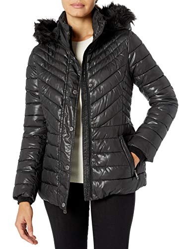 Kenneth Cole New York Women's Short Puffer with Faux Fur Trimmed Hood, Black, Medium