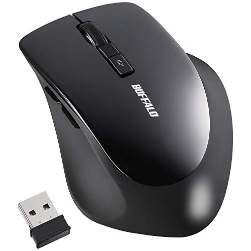 BUFFALO BSMBW325BK Wireless Mouse, 5 Buttons, BlueLED, Dpi Switch, Black