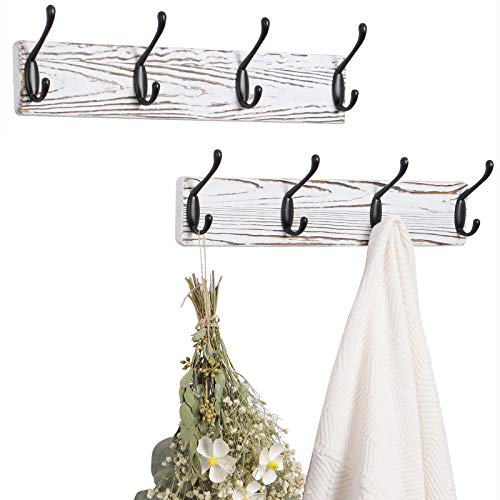 "OROPY Rustic Wood Coat Rack 4 Hooks 16.5"" Length Pack of..."