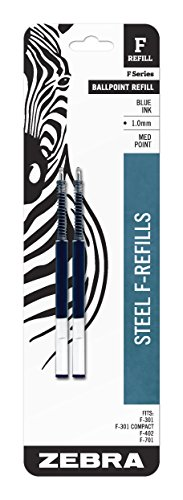 Zebra F-Series Ballpoint Stainless Steel Pen Refill, Medium Point, 1.0mm, Blue Ink, 2-Count
