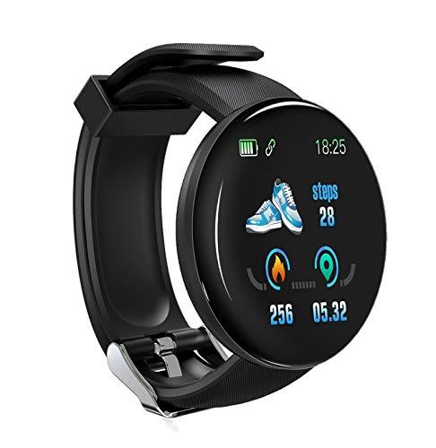 Langguth Reloj inteligente para hombre y mujer, pulsera de fitness, reloj inteligente redondo, IP65, resistente al agua, reloj de fitness con pulsómetro, ECG, podómetro, cronómetro
