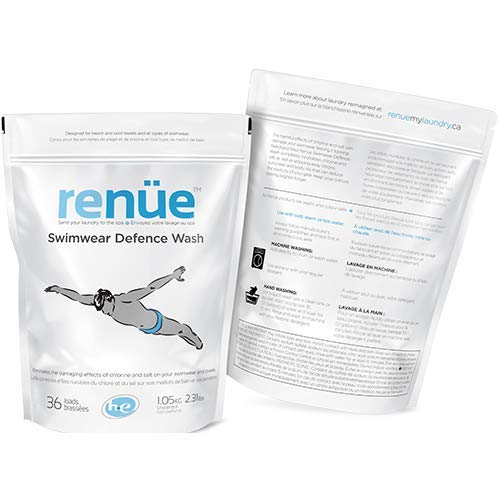 RENUE Swimwear Defense Wash - Unscented - 36 Loads - Chlorine Odour Removing Swimwear Laundry Detergent Swimsuit Wash Designed for Beach and Pool Towels and All Types of Swimwear.