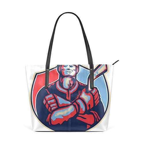 NR Multicolour Fashion Damen Handtaschen Schulterbeutel Umhängetaschen Damentaschen,Illustration eines Eishockey-Spielers, der Stock-Retrostil hält