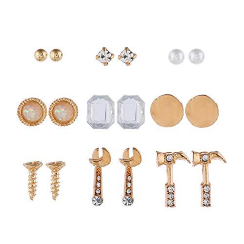 Nueva wyt 9 pares tornillo llave inglesa Rhinestone Boho Stud pendientes conjunto de joyería de moda