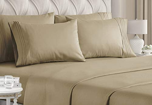 Queen Size Sheet Set – 6 Piece Set – Hotel Luxury Bed Sheets – Extra Soft – Deep Pockets – Easy Fit – Breathable & Cooling Sheets – Wrinkle Free – Comfy – Tan – Beige Bed Sheets – Queens Sheets – 6 PC