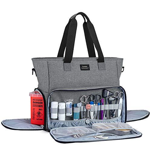 CURMIO Torba pielęgniarska i torba z wyściełanym rękawem na laptopa, torba na materiały medyczne na wizyty domowe, opiekę zdrowotną, hospice, idealna dla studentów pielęgniarek, asystentów medycznych, tylko torebka, szara