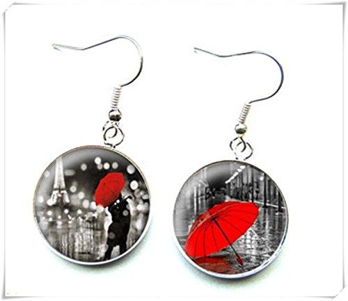 Elfenhaus-Liebhaber im roten Regenschirm, Glas-Cabochon-Ohrringe, Kuppelglasschmuck, Reine Handarbeit