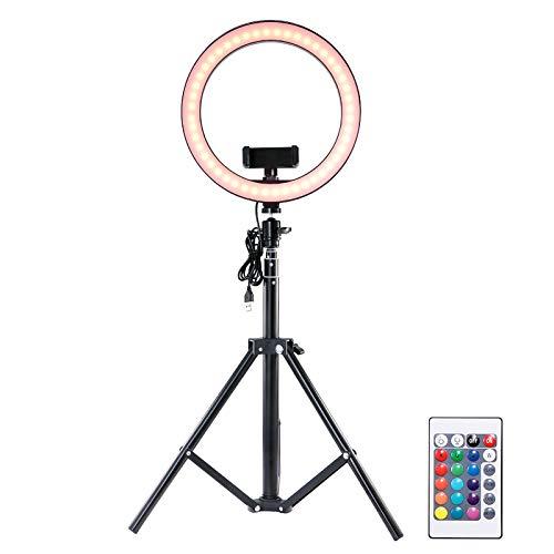 TTAototech Aro de Luz Trípode Fotografía, luz de Anillo de Selfie con Soporte para trípode y Soportes para teléfono, 16 Luces de Colores y 4 Modos de luz, alimentación por USB