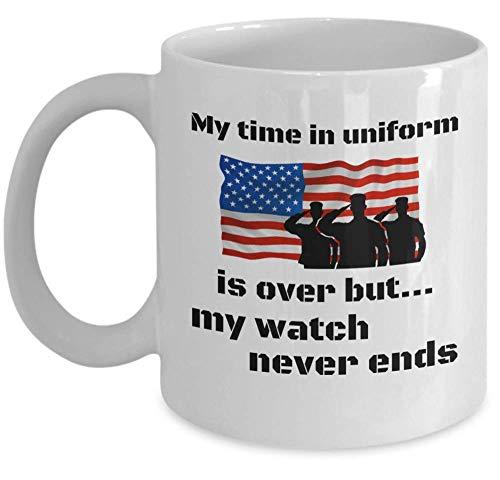 N\A Taza de Veterano Mi Tiempo en Uniforme se acabó Pero mi Reloj Nunca Termina Taza de té de café