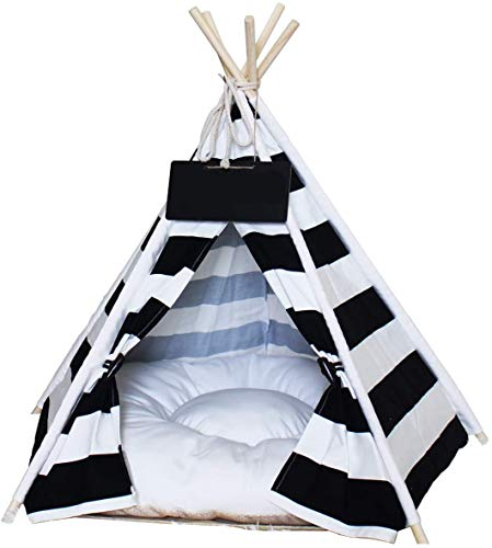 Saim Pet Wigwam, Pet Teepee Dog Cat Bed Portable Cotton Canvas Tent with Cushion Blackboard Pet Cat Supplies Puppy Little House Quickly Assembled Disassembled for Machine Washable Travel Teepee Tent