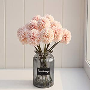 SHINE-CO LIGHTING Artificial Chrysanthemum Ball Flowers Bouquet 10pcs Present for Important People Glorious Moral for Home Office Coffee House Parties and Wedding