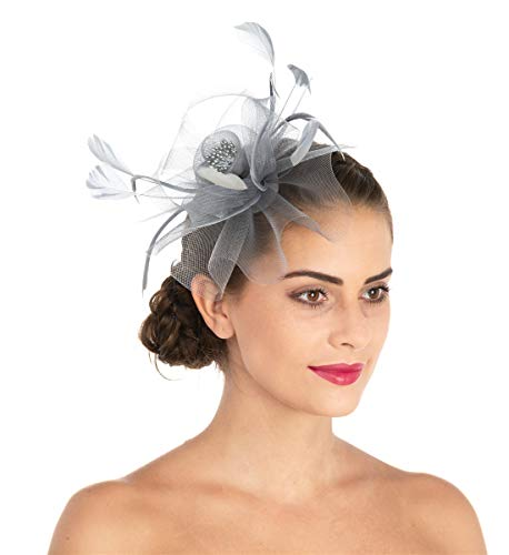 Lucky Leaf Women Girl Fascinators Hair Clip Hairpin Hat Feather Cocktail Wedding Tea Party Hat (7-Grey)