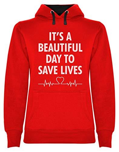 Regalo para el D/ía de la Enfermera Its a Beautiful Day To Save Lives Green Turtle Sudadera con Capucha para Mujer