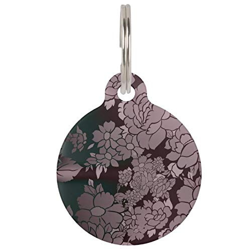Stainless Steel Pet ID Tags, Dog Tags, Cat Tags, Beautiful Florescent Floral Pattern Pet ID Tag for Dogs and Cats