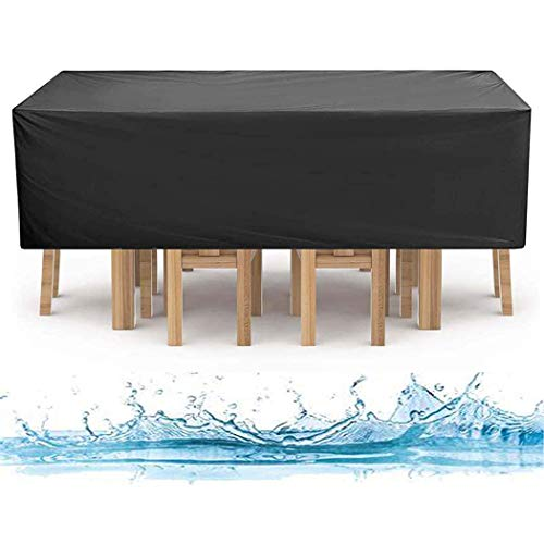 InkFenm Furniture Cover, Outdoor Patio Furniture Cover Black, Heavy Duty 420D Oxford Fabric for Outdoor Patio Table And Chairs, Waterproof Anti-Fade Rectangular Table Cover,320X160X74cm