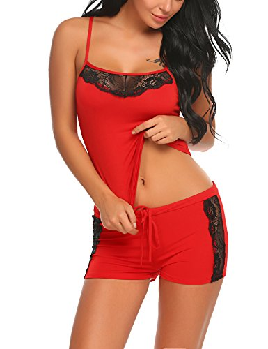 ADOME Damen Schlafanzug Nachthemd Sommer Kurz Pyjama Shorty Spitzen Nachtwäsche Negligee Set mit Verstellbaren Trägern, A-rot, XXL
