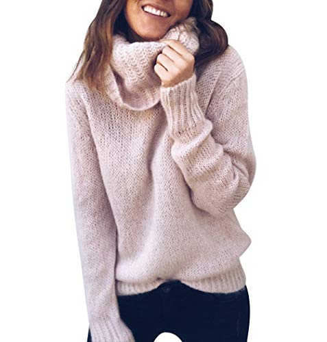 Jerseys de Punto Mujer Jersey Punto Cuello Vuelto Mujer Oversize Grueso Sueter Señora Gordos Ancho Sweaters Sweater Tejido Jerséis Suéter de Mujer Tejido Jerséy Pullover Sueteres Anchos Invierno Rosa