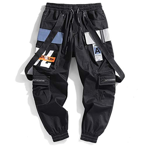 Herren Bänder Cargo Pants Herren Harajuku Casual Jogger Track Streetwear Hose Hip Hop Haremshose Techwear Black XL